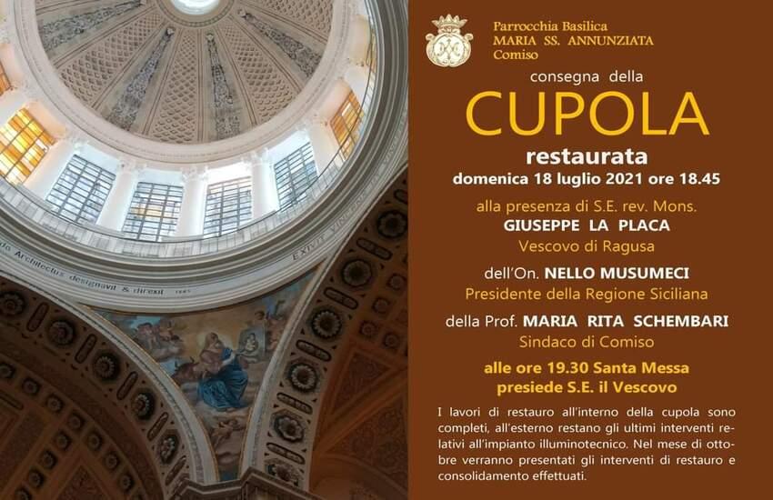 Musumeci in visita ufficiale a Comiso per l'inaugurazione della cupola della chiesa Maria SS Annunziata