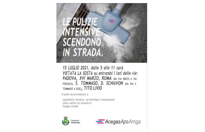 """Albignasego: il 15 luglio secondo intervento di """"Pulizie Intensive"""""""