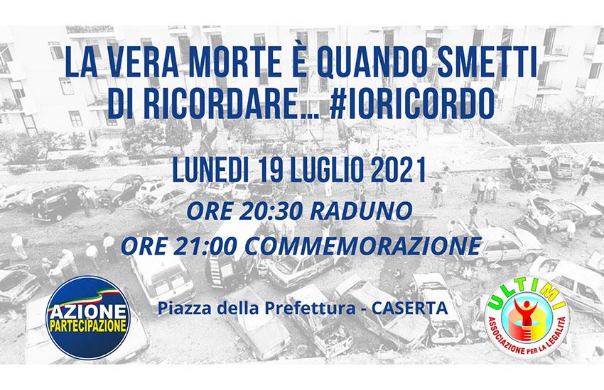 Caserta, in Piazza della Prefettura il 19 un'iniziativa in memoria di Paolo Borsellino