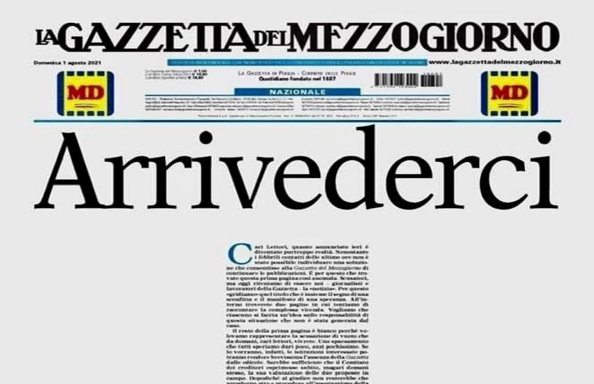 Fnsi-Associazioni di Stampa: 'Accorciare tempi, Gazzetta Mezzogiorno deve tornare subito in edicola'
