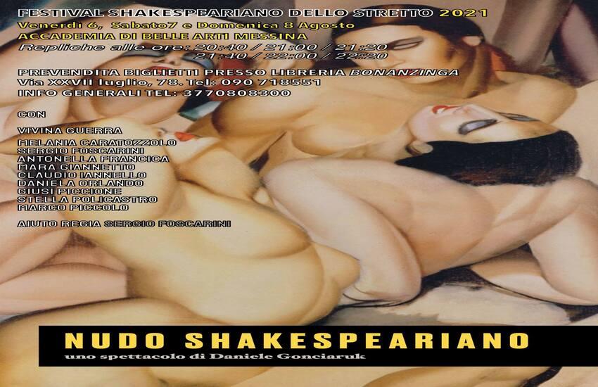 """""""Nudo Shakespeariano"""" chiuderà il Festival Shakespeariano dello Stretto all'Accademia di Belle Arti di Messina"""