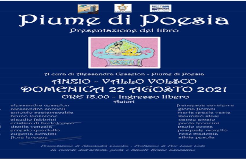 """Anzio,il 22 agosto Presentazione dell'Antologia """"Piume di Poesia"""""""