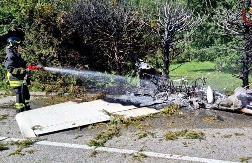 Varallo Sesia (VC), aereo ultraleggero precipita e prende fuoco