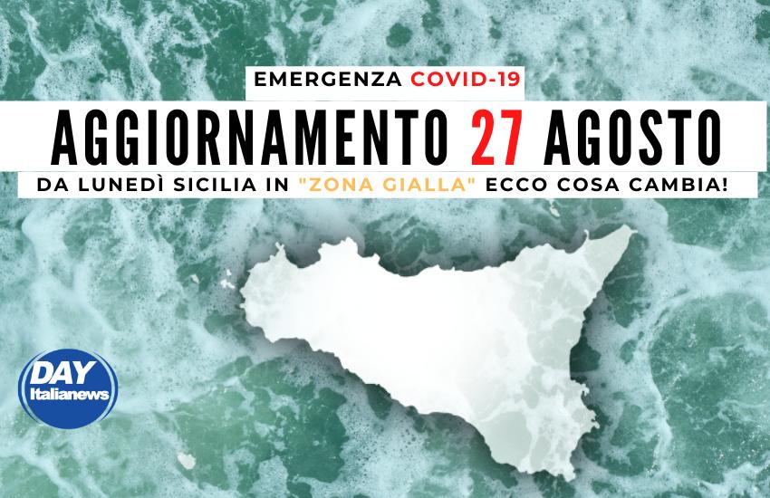 """Covid 27 agosto, salgono casi e tasso di positività. Sicilia """"Zona Gialla"""", ecco cosa cambia"""
