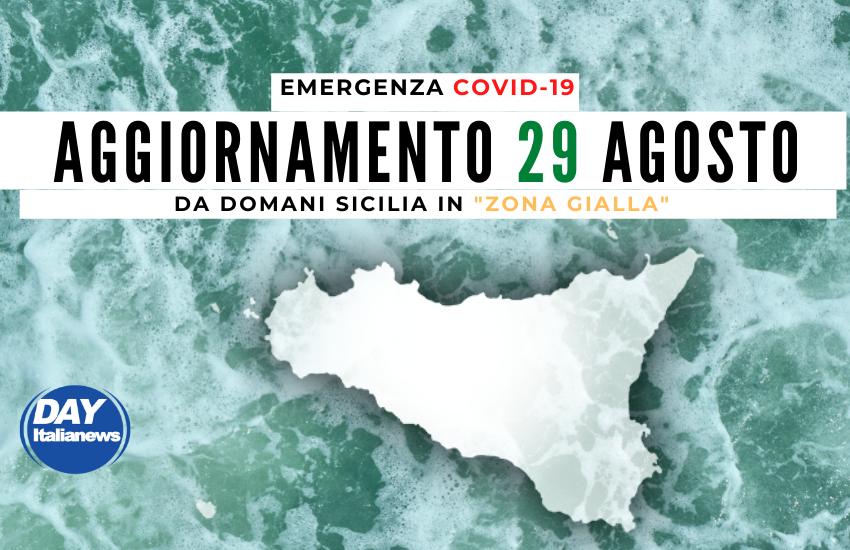 """Covid 29 agosto, continuano a crescere i casi giornalieri in Sicilia, da domani """"Zona Gialla"""""""