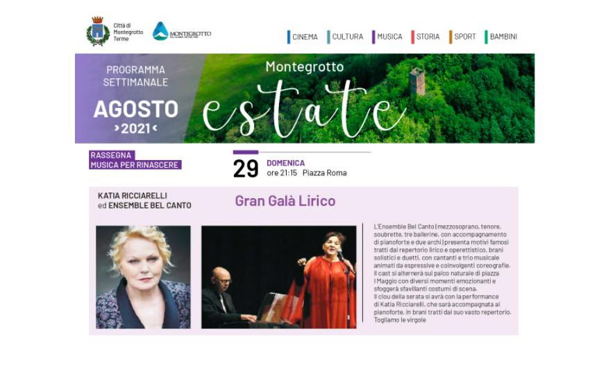 Montegrotto, concerto di  Katia Ricciarelli anticipato (perché poi lei va al Grande Fratello Vip)