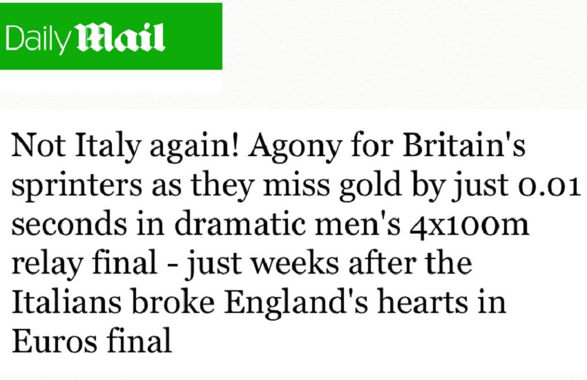 """Daily Mail, """"Agonia per i velocisti britannici"""": infranti i cuori incrinati, ancora una volta dopo la finale degli Europei"""