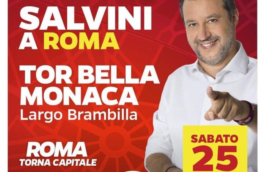 Salvini a Tor Bella Monaca per concludere il tour della campagna elettorale