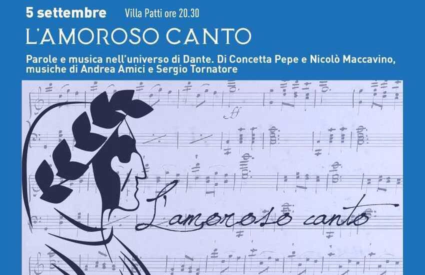 """Caltagirone, domenica 5 settembre, a Villa Patti, """"L'Amoroso Canto – Parole e musica nell'universo di Dante"""""""