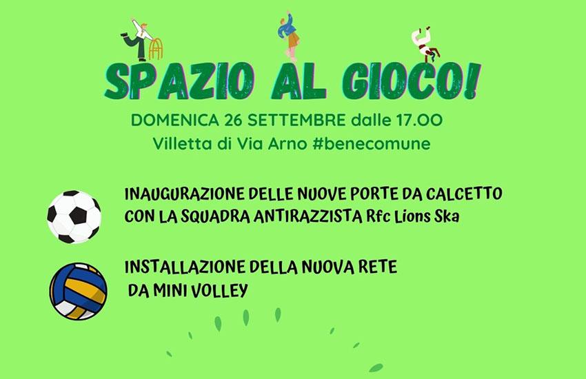 Spazio al gioco nella Villetta di via Arno: le associazioni unite per l'inclusione