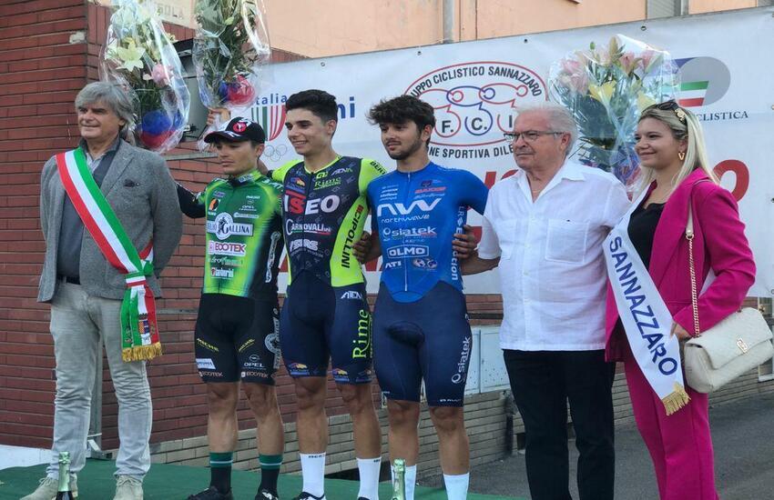 Il ciclista vittoriese Samuele Pirrè La Terra conquista il terzo posto al 67mo Gran Premio Sannazzaro dè Burgondi in provincia di Pavia