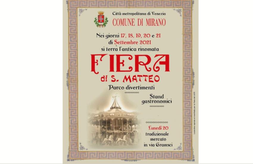 Mirano, dal 17 al 21 settembre torna l'antica Fiera di San Matteo