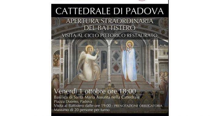 Apertura straordinaria del Battistero di san Giovanni Battista della Cattedrale di Padova: visita al ciclo pittorico restaurato