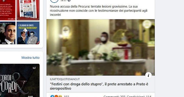 Il Fatto Quotidiano associa il sacerdote della sparatoria di Acireale al prete dello scandalo di Prato