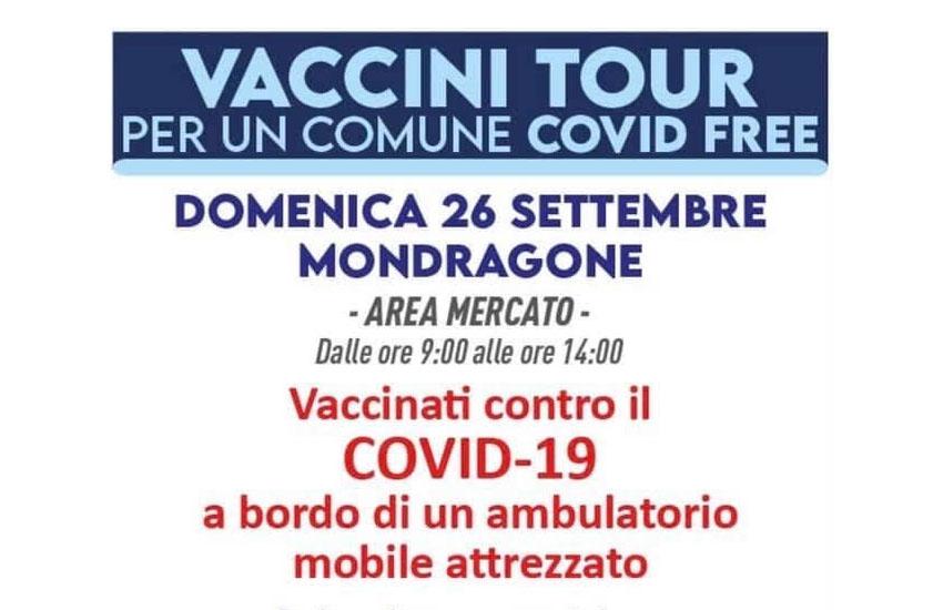 Vaccini tour: a Mondragone domenica 26 settembre un camper sanitario